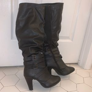 NEW Black Knee High Boots Faux Leather Zip Up Heel
